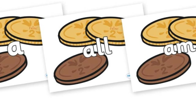 Foundation Stage 2 Keywords on Chocolate Coins - FS2, CLL, keywords, Communication language and literacy,  Display, Key words, high frequency words, foundation stage literacy, DfES Letters and Sounds, Letters and Sounds, spelling