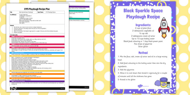 EYFS Black Sparkle Space Playdough Plan and Recipe Pack - playdough