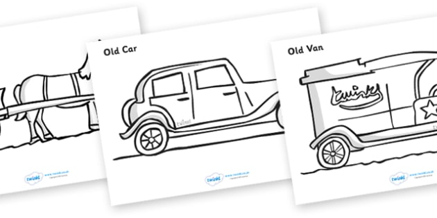 Old Transport Colouring Sheets - Transport, colouring poster, colouring, fine motor skills, activity, car, van, lorry, bike, motorbike, plane, aeroplane, tractor, truck, bus