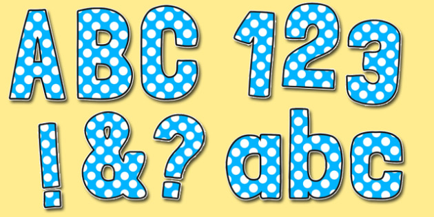 Blue With White Polka Dots Funky Display Lettering - display lettering, display, lettering, funky