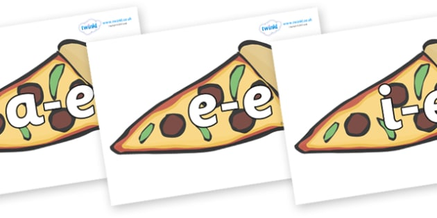 Modifying E Letters on Pizza - Modifying E, letters, modify, Phase 5, Phase five, alternative spellings for phonemes, DfES letters and Sounds