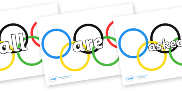 Tricky Words on Olympic Rings - Tricky words, DfES Letters and Sounds, Letters and sounds, display, words