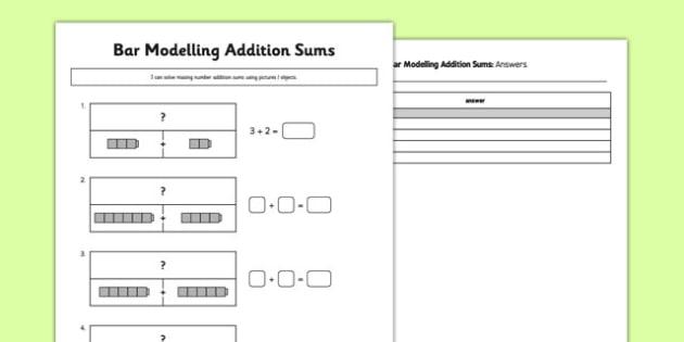 Bar Modelling Addition Sums - bar modelling, addition sums, addition, sums, bar, modelling, maths, numeracy, worksheet