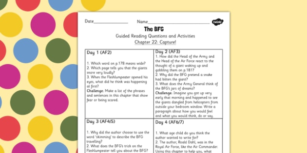 Guided Reading Questions Chapter 22 to Support Teaching on The BFG - bfg, guided reading