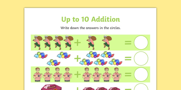 Criminal Granny up to 10 Addition Sheet - David Walliams, Gangsta Granny, literacy, literature, english, add, adding, numbers, up to 10, calculation,