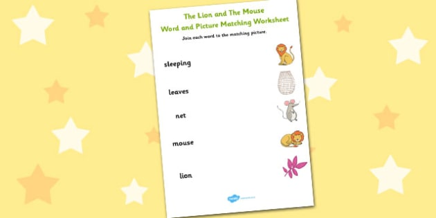 The Lion And The Mouse Word and Picture Match - Word, Picture