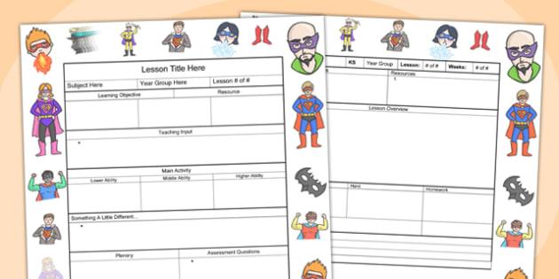 Superhero Themed Editable Individual Lesson Plan Template - plan