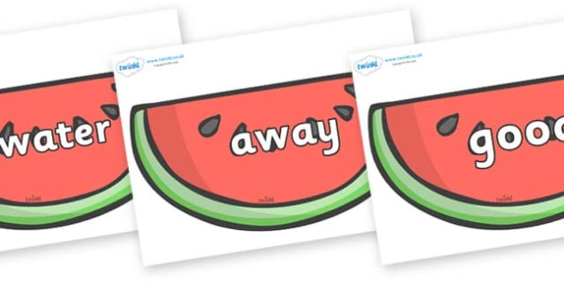 Next 200 Common Words on Watermelons to Support Teaching on The Very Hungry Caterpillar - Next 200 Common Words on  - DfES Letters and Sounds, Letters and Sounds, Letters and sounds words, Common words, 200 common words