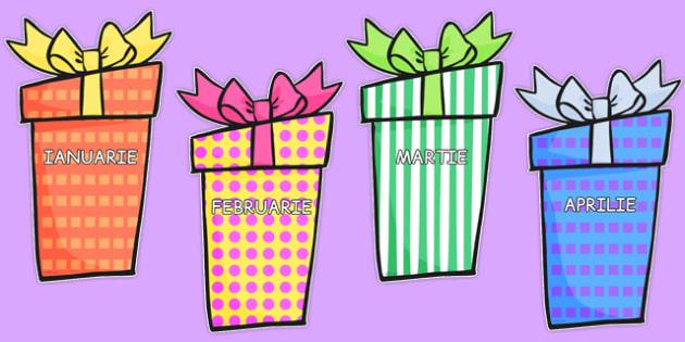 Lunile anului pe cutii de cadouri - calendarul clasei, grupei