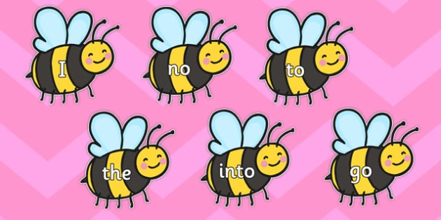 Phase 2 Tricky Words on Bees - phase 2, tricky words, bees, phase