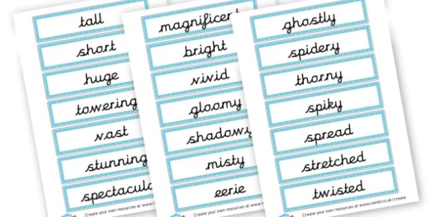 Adjectives Labels - KS2 Adjectives Primary Resources, Adjectives, Word Types, Words