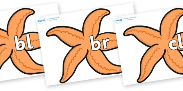 Initial Letter Blends on Starfish - Initial Letters, initial letter, letter blend, letter blends, consonant, consonants, digraph, trigraph, literacy, alphabet, letters, foundation stage literacy