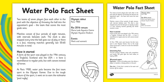 The Olympics Water Polo Fact Sheet - the olympics, rio olympics, rio 2016, 2016 olympics, water polo, fact sheet