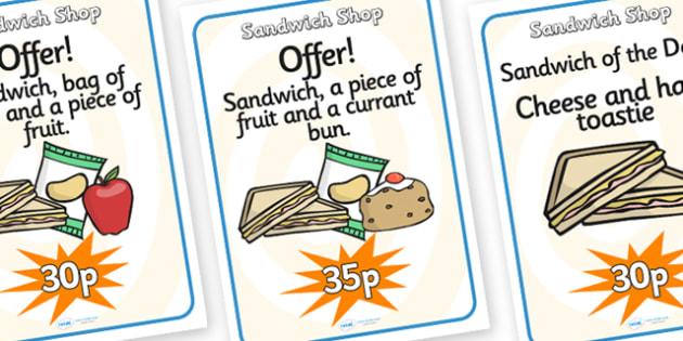 Sandwich Shop Role Play Posters-sandwich shop, role play, posters, role play posters, sandwich shop posters, classroom posters, display poster
