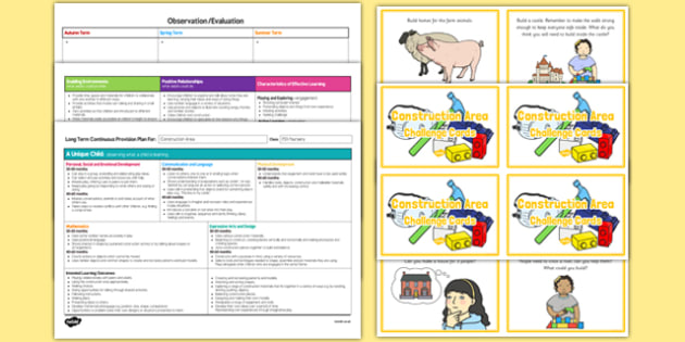 Construction Area Editable Continuous Provision Plan and Challenge Cards Pack Nursery FS1 - continuous