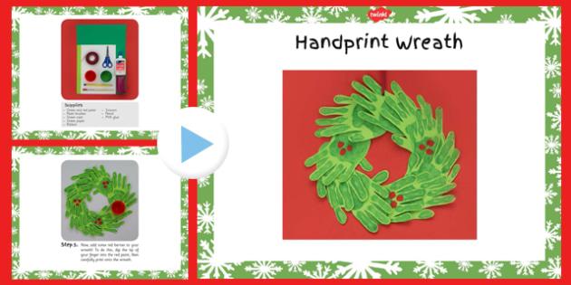 Handprint Wreath Craft Instructions PowerPoint - handprint, wreath, craft, instructions, powerpoint