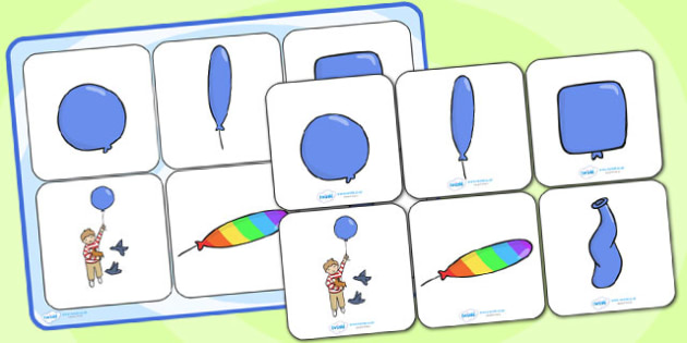 Matching Cards and Board to Support Teaching on The Blue Balloon - the blue balloon, the blue balloon picture matching cards, the blue balloon matching activity, sen story cards