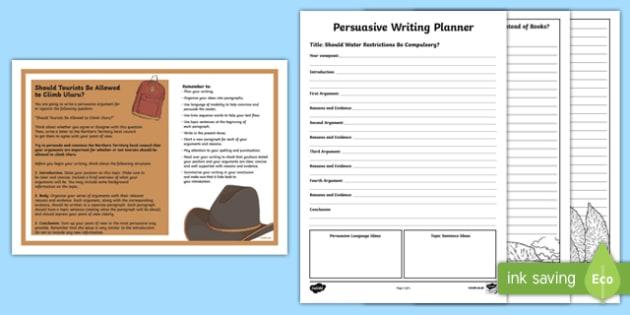 Year 5 Should Tourists Be Allowed to Climb Uluru? Persuasive Writing Activity Sheet