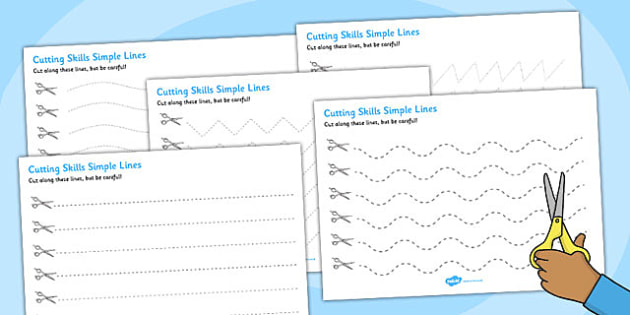 Cutting Skills Worksheets (Lines) - education, home school, free
