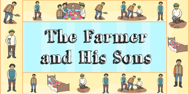 The Farmer and His Sons Display Borders - aesops fables, story
