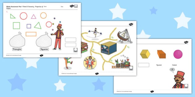 Year 1 Maths Assessment: Geometry - Properties of Shape Term 3 - progress, maths, numeracy, ks1, key stage 1, marking, test, objectives, curriculum, national, summer,shape, space, measure, 2d,