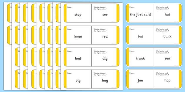 Australian Kindergarten Year 1 One Syllable Rhyming Words Loop Cards - australia, Phonics, rhyming, one-syllable, language, literacy, listening, talking, loop cards, ACELA1439