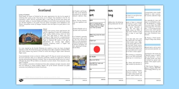 Scotland and Japan Comparison Resource Pack - CfE, social studies, lifestyle comparison, Japan, Scotland