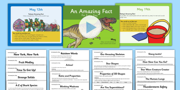 An Amazing Fact A Day May PowerPoint and Activity Sheet Pack - amazing facts, may, activity sheets, he, home education, worksheet