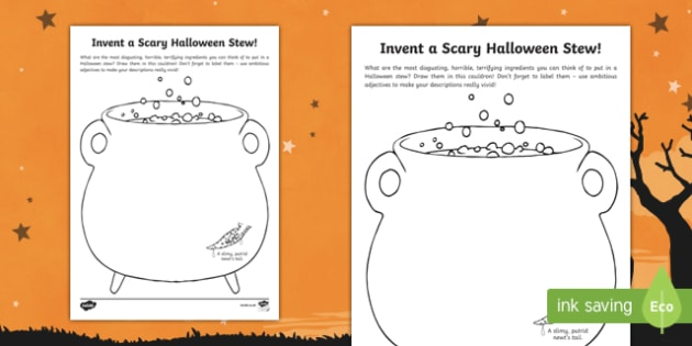 Invent a Scary Halloween Stew Activity Sheet, worksheet
