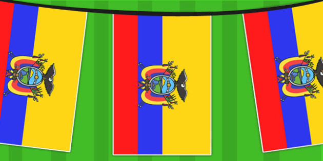 Ecuador A4 Flag Bunting - countries, geography, flags, country