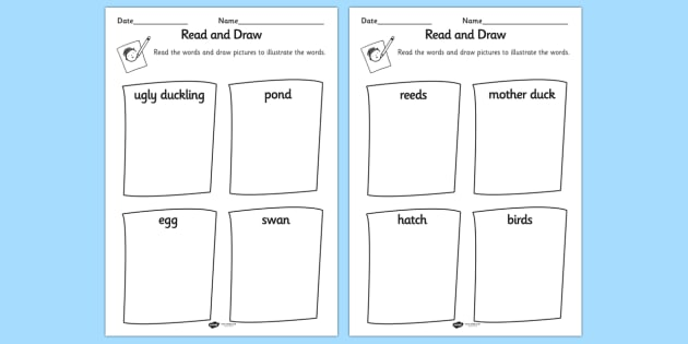 Ugly Duckling Read and Draw Worksheet - read, draw, worksheet