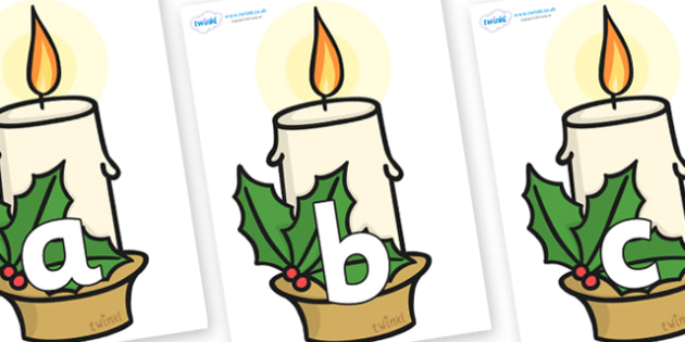 Phoneme Set on Christmas Candle - Phoneme set, phonemes, phoneme, Letters and Sounds, DfES, display, Phase 1, Phase 2, Phase 3, Phase 5, Foundation, Literacy