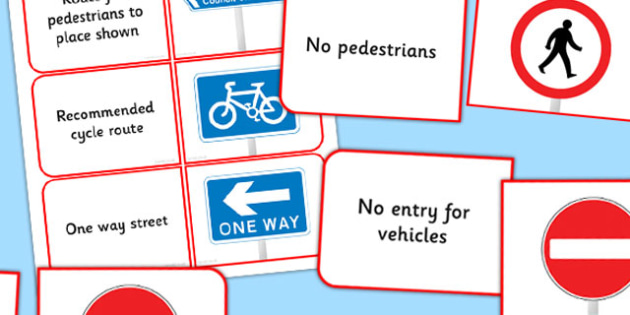 KS2 British Road Signs Matching Cards - card, sign, match, roads