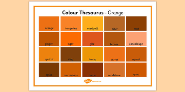 Colour Thesaurus Word Mat Orange - colour thesaurus, colour, thesaurus, word mat, word, mat, orange