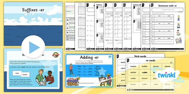 PlanIt Y1 SPaG Lesson Pack: Suffixes er - GPS, verb, noun, grammar, spelling