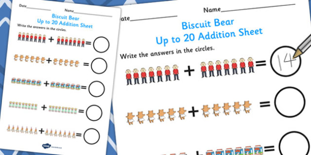 Up to 20 Addition Sheet to Support Teaching on Biscuit Bear - addition sheet, biscuit