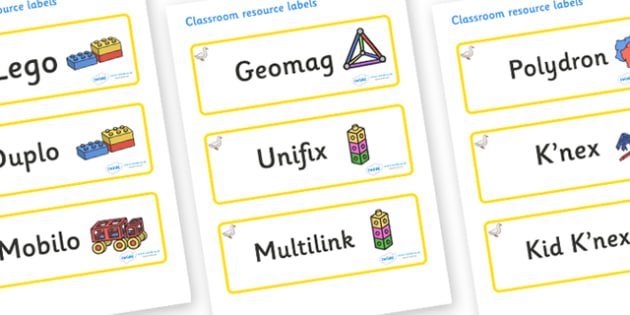 Duck Themed Editable Construction Area Resource Labels - Themed Construction resource labels, Label template, Resource Label, Name Labels, Editable Labels, Drawer Labels, KS1 Labels, Foundation Labels, Foundation Stage Labels