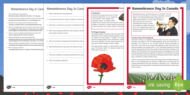 Canada Remembrance Day Differentiated Reading Comprehension Activity
