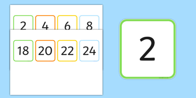 Multiples of 2 Flash Cards - multiples, counting, times table, count, multiplication, division, flash cards, 2
