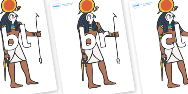 Initial Letter Blends on Egyptian Figures - Initial Letters, initial letter, letter blend, letter blends, consonant, consonants, digraph, trigraph, literacy, alphabet, letters, foundation stage literacy