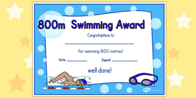 800m Swimming Certificate - swimming, certificate, 800m, awards