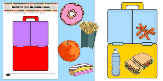 Healthy Eating Lunch Activity French - french, healthy, healthy eating, sort, activity, fruit, game, how to eat healthy, vegetable, healthy snack, lunch, snack time, snack, food, sorting