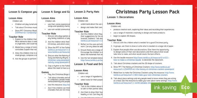 KS1 Christmas Party Lesson Pack - Christmas, Nativity, Jesus, xmas, Xmas, Father Christmas, Santa, games, food, drink, Christmas party
