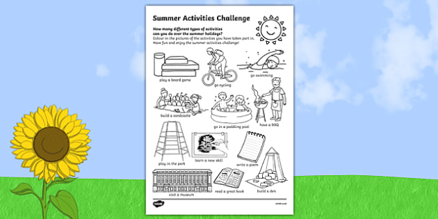 Summer Holiday Challenges Activity Sheet, worksheet