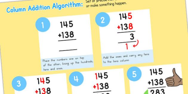 Add Algorithm Computing Curriculum Poster 3 Digits - australia