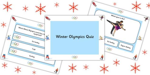 Winter Olympics PowerPoint Quiz - olympic, winter, sport, quiz