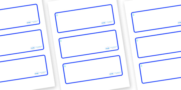 Raindrop Themed Editable Drawer-Peg-Name Labels (Blank) - Themed Classroom Label Templates, Resource Labels, Name Labels, Editable Labels, Drawer Labels, Coat Peg Labels, Peg Label, KS1 Labels, Foundation Labels, Foundation Stage Labels, Teaching Lab