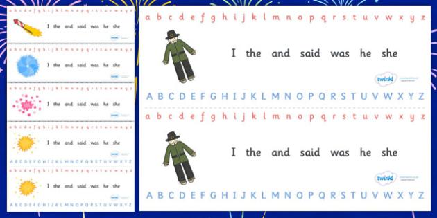 Alphabet Strips (Fireworks / Bonfire Night) - Alphabet, Learning letters, Writing aid, Writing Area, Guy, Autumn, firework, bang, crackle, woosh, rocket, sparkler, catherine wheel, screech, whirl, fire, bonfire, leaves, gloves