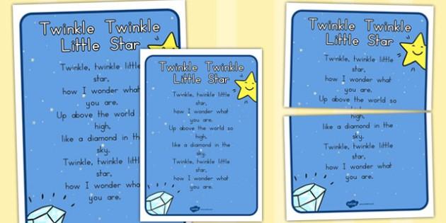 Twinkle Twinkle Little Star Nursery Rhyme Poster - Star, Rhyme