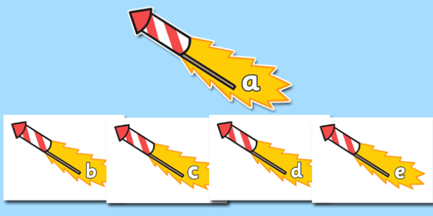 A-Z Alphabet on Firework Rockets - Firework, Fireworks, Alphabet frieze, Display letters, Letter posters, A-Z letters, Alphabet flashcards, harvest, Guy, Autumn, A4, bonfire,  display, firework, bang